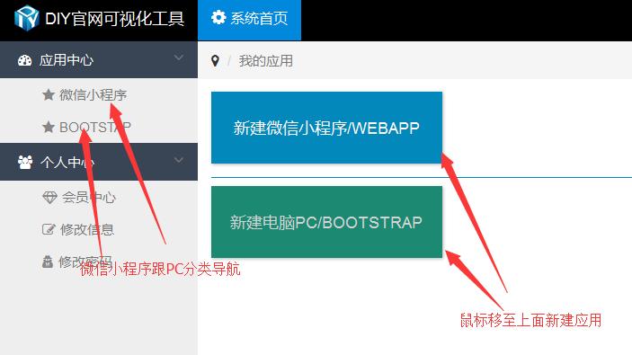 新建DIY官网应用